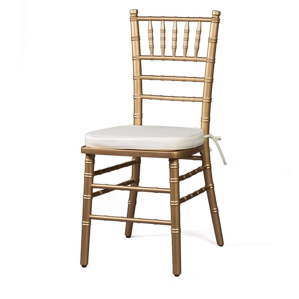 Gold Chiavari Chair Ivory Cushion