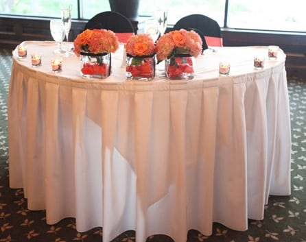 Half Moon Table With Skirt And Linen