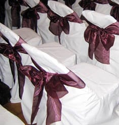 White Chair Cover With Bow