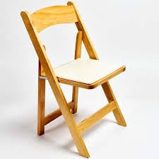 Wood Natural Chair W/ Cushion