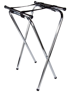 Folding Chrome Double Bar Tray Stand